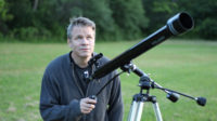 """2nd Brad Peterson with telescope on location during """"what the open heart allows"""" music video film-shoot"""